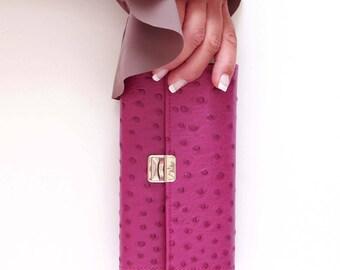 Pink ostrich wallet, pink womens wallet, pink leather wallet, large purple wallet, leather wallets for women, unique womens wallet