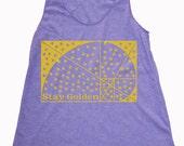 Women's Stay Golden Handmade Screen print Tank Top Shirt Black Sacred Geometry Golden Ratio