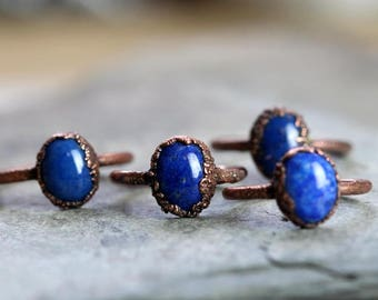 Lapis Lazuli Ring Electroformed Ring Deep Blue Stone Small Stacking Ring Copper Ring Round Stone Ring