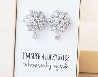Mother of the Bride Jewelry - Big Flower CZ Post Earrings - Flower Posts - Cubic Zirconia Silver Posts - Bridal CZ Earrings - BZ22, BZ23
