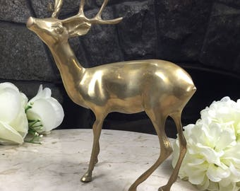 Vintage Brass Deer Statue, Mid Century Brass Stag Figure, Large Brass Animal Statue