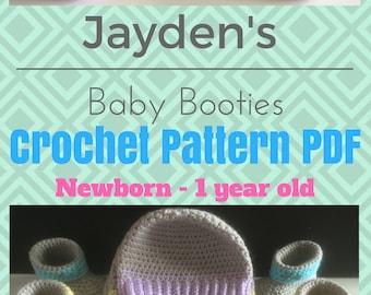Jayden's Baby Booties, Newborn to 12 Months, Crochet Pattern, Easy, Beginner, Photo Tutorial, Newborn Set, Baby Shower Gift, Pastels