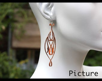 ARABESQUE- Copper Filigree cut-out dangle earrings by Ramosa Jewelry