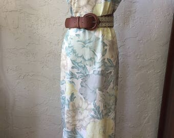 Vintage 1990s Floral Linen Maxi Dress Sz 6-8