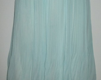 NEW Pastel Green Chiffon Micro Pleat Summer Skirt Lined Elastic Waist SIze Small