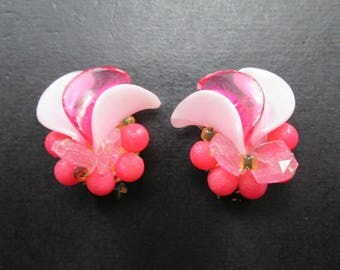 Vintage Pink Bead Earrings Made in West Germany Beaded Gold Tn Clip On Closures Mid Century