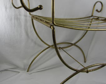 Vintage Metal Vanity Stool  Gold Metal Vanity Bench Cottage Chic Home Decor Bedroom Bathroom Furniture Accessories