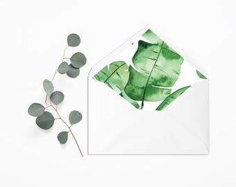 Envelope Liner - Wedding Liner Envelope - Wedding Envelope - Envelope Liner - Tropical Envelope Liner - Banana Leaf envelope liner