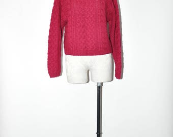 dark raspberry sweater / cable knit aran sweater / cropped wool pullover / 90s chunky knit jumper