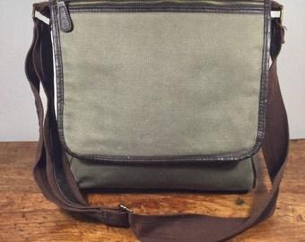 Green Canvas Messenger Bag, Khaki, Shoulder Bag, Padded