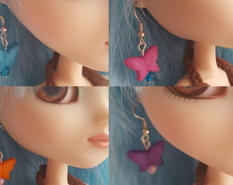 Butterfly earrings for Pullip doll - 4 colours available