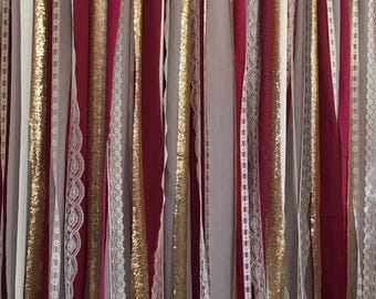 Grey, Burgundy & Gold Sparkle Sequin Fabric Backdrop with Lace - Wedding Garland, Photo Prop, Cake Table, Reception