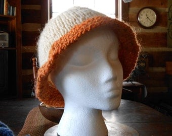 White Mohair Hat with Orange Brim