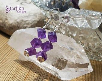 Amethyst Earrings, Purple Earrings, Gypsy Style Crystal Jewelry, February Birthday, Everyday Earrings, Wire Jewelry,  Dangle Earrings