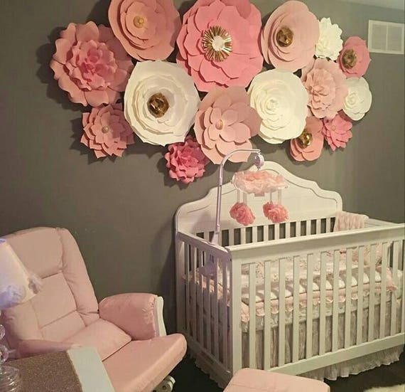 Diy Baby Nursery Floral Wall Decor: Set Of 15 Pink White Gold Large Paper Flowers Paper