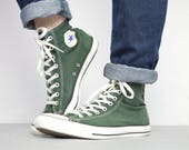 Vintage 90s Converse Green HiTops Trainers Sneakers Chuck Taylor Grunge Retro Label Size UK 12 EU 46.5 US Mens 12 Womens 14 cm 30.5