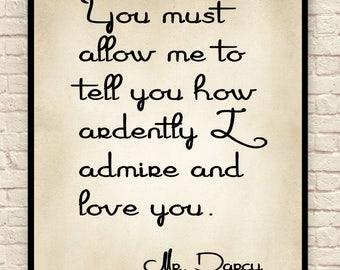 Jane Austen Art Print, Jane Austen Quote, Custom Art Print, Mr. Darcy, Wall Art, Christmas Gift, Gift for Book Lovers