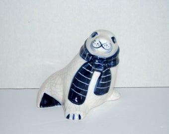 Vintage Potting Shed Dedham Pottery Seal in Scarf Figurine