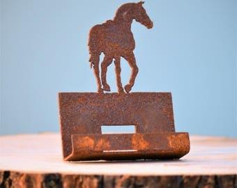 Stallion Business Card Holder | Rustic Office Decor | Western Metal Art | Farm and Ranch Decor | Running Horse Art | Trotting Horse | CH304