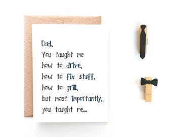 Fathers Day Card - Sweet Card for Dad - Dad You Taught Me - From Son - From Daughter