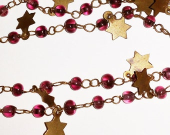 Longchain Star and Purple Glass Bead Necklace - vintage brass whimsical fairy magic