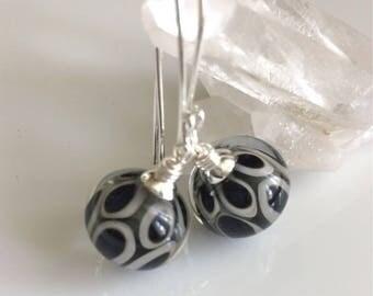 Black and Gray Glass Earrings    Lampwork Glass Earrings   Sterling Silver Earrings   Glass Dangle Earrings