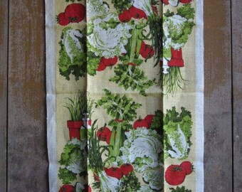 Vintage Linen George Wright Vegetable Tea Towel,Unused Garden Kitchen Wall Hanging Linen Tea Towel,Fiber Art,Retro Kitchen,Red,Green Veggies