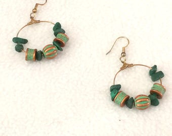 Vintage Green Stone and Bead Gold Tone Pierced Dangle Earrings