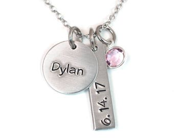 New Mom Necklace - Gift for New Mom - New Mommy Jewelry - New Mommy - Handstamped Aluminum and Stainless Steel