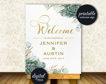 Floral Welcome Sign, Succulent Wedding Welcome Sign, Custom Wedding Sign PRINTABLE, Bridal Shower Welcome Sign, Green Gold Welcome Sign
