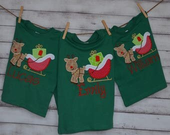 Reindeer Christmas Sleigh Applique Shirt or Onesie Boy or Girl Choose your color!