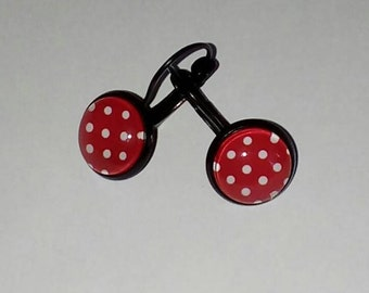 Red polka dots cabochon earrings 12mm white