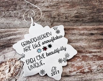 Grandparent Ornament / Personalized Ornament / Grandchildren Ornament /Christmas Ornament / Gift for Grandma / Hand Stamped Ornament