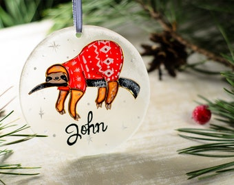 Personalized Christmas Ornament Sloth, Funny Ornaments, Personalized Gift Custom Ornament, Corporate Christmas Gift Stocking Stuffer