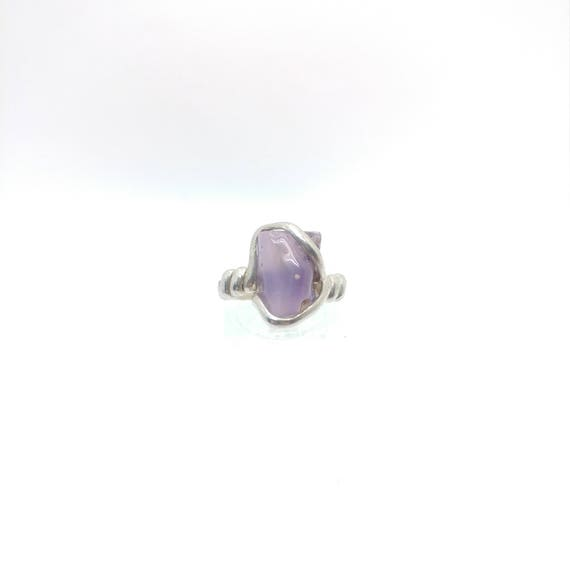 Holley Blue Agate Ring | Purple Chalcedony Ring | Eco Friendly Sterling Silver Ring Sz 6 | Purple Stone Ring | Raw Cut Stone Ring