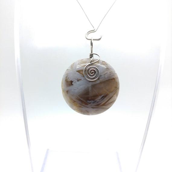 Bamboo Agate Pendant Necklace | Stick Agate Pendant | Antique Sterling Silver Pendant | Semiprecious Gemstone Pendant | Black & White Stone