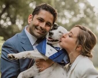 Dog Tuxedo Navy Deluxe Wedding Bib Bandanna by Sew It Themes