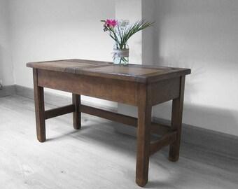 Antique School Desk Oak Twin Double Coffee Table