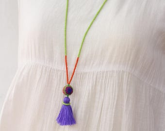 Blue Tassel Necklace, Beaded Necklace, Tassel Beads Necklace, Beach Jewelry, Boho Necklace