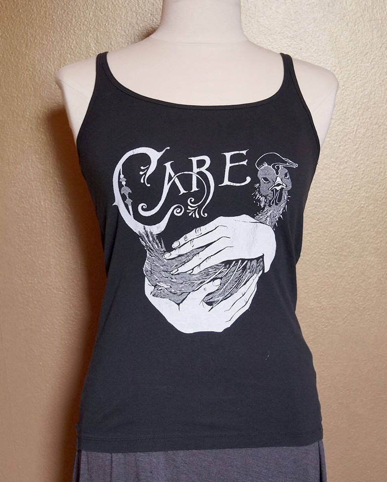 """Small """"Care"""" Tank, White Ink on Black"""