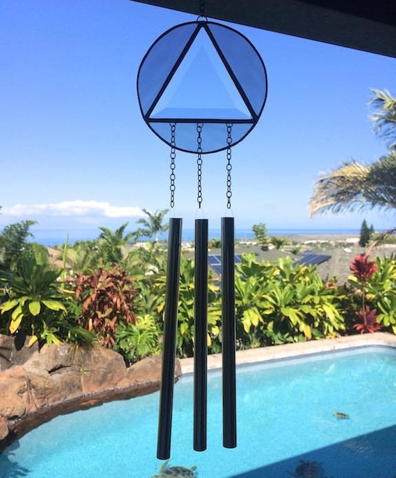 Recovery Wind Chime 12 Step Stained Glass Triangle and Circle Sobriety Inspirational Gift Deesigns by Harris Made in Hawaii Free Gift Wrap