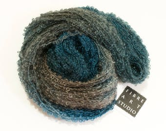 Big Kid>> Kid Mohair Boucle Loop Yarn | Aran Weight 100 g 210 yards | Navy Blue Brown Gray | Weaving Knitting Variegated Yarn | Whale's Tail