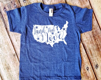 Land that I Love Kid's Shirt  - 4th of July - Independence Day - Heather Blue America T-Shirt
