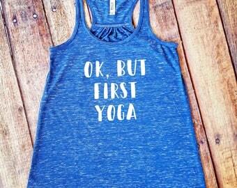 Yoga Tank Top - Ok, But First Yoga Shirt - Royal Blue Marble Racerback Tank