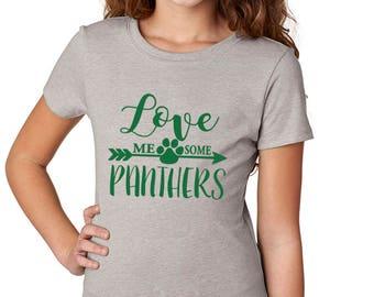 Girls'  Love Me Some Panthers Shirt - School Spirit - Panthers - Heather Gray Girls T-Shirt