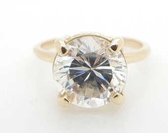 Solid 14K Yellow Gold 2.75ct Round Cubic Zirconia Solitaire Engagement Ring Sz 6; sku # 4727