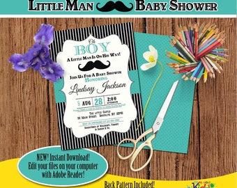 Little man Baby Shower Invitation-Edit Files yourself Instantly-Mustache Baby shower Invite-Little Gentleman-DIY Editable Invitation-B-102