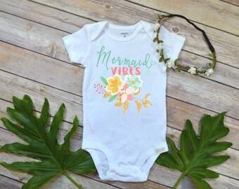 Mermaid shirt, Baby Girl Gift, Niece Gift, Mermaid Vibes, Mermaid Party, Mermaid Birthday, Baby Shower Gift, Girl gift, Baby Summer Dress,