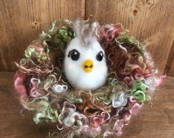 Chick with Attitude & Mohair Nest, 100% Needle Felted - Wool Egg in White Pygora Goat, Nest Covered in Super Soft Mohair Locks - Gift Boxed