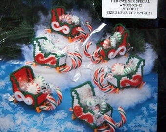 Sleigh Ornaments Plastic Canvas For All Seasons By Needlecraft Ala Mode Vintage Plastic Canvas Kit 1992